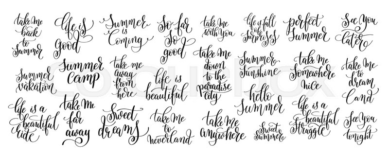 Set Of 25 Motivation And Inspirational Quotes About Summer Travel Positive Phrases To Poster Greeting Card Printable Wall Art Calligraphy Vector