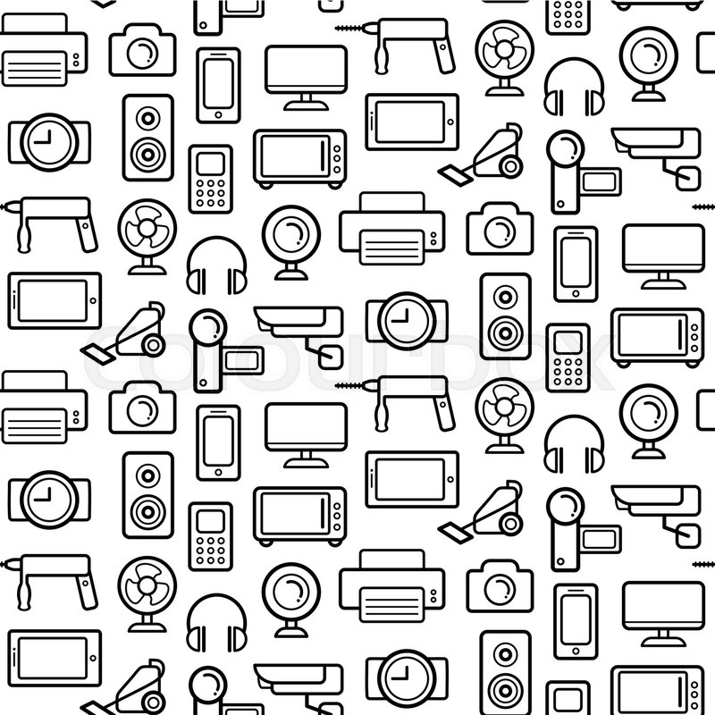 vector seamless pattern of electrical engineering  household appliances and electronics icons in
