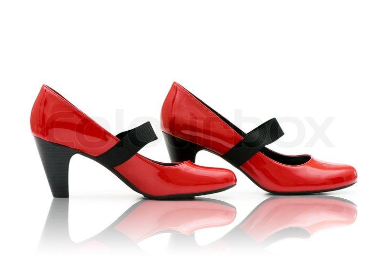 e42902bc362 Elegant røde sko på den hvide | Stock foto | Colourbox