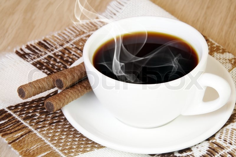 Cup Of Delicious Aromatic Coffee With Steam Stock Photo