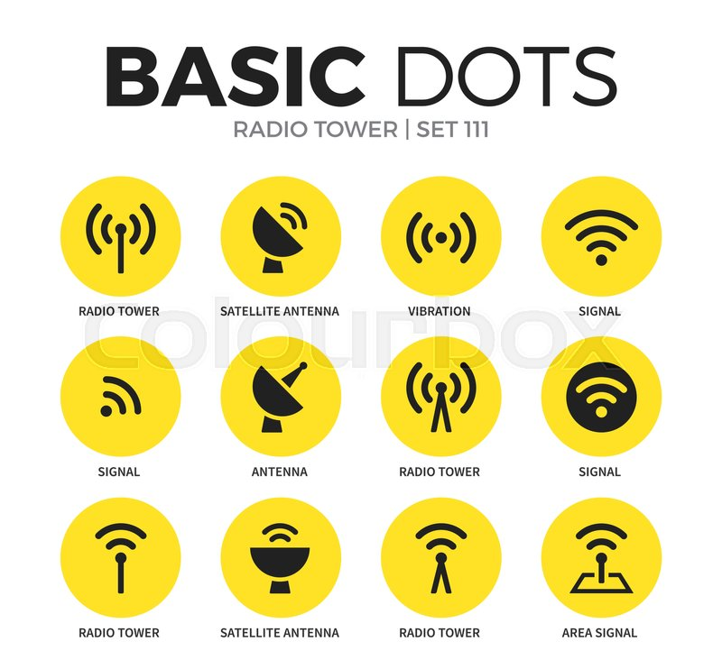 Radio tower flat icons set with     | Stock vector | Colourbox