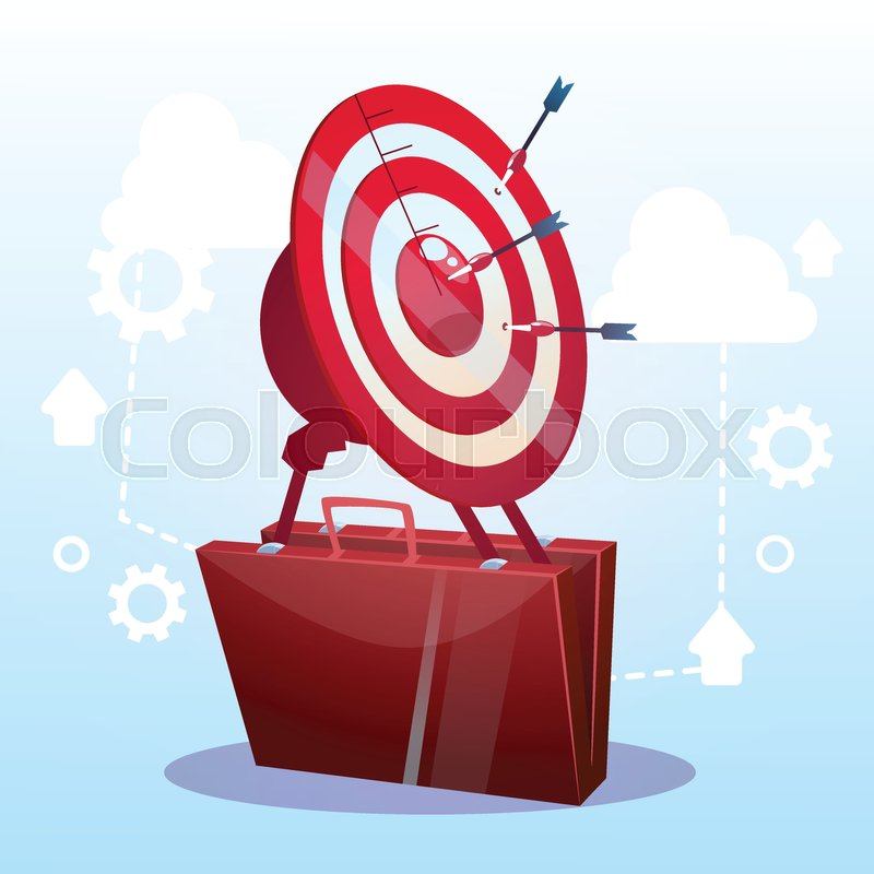 open briefcase target successful goal business strategy concept flat