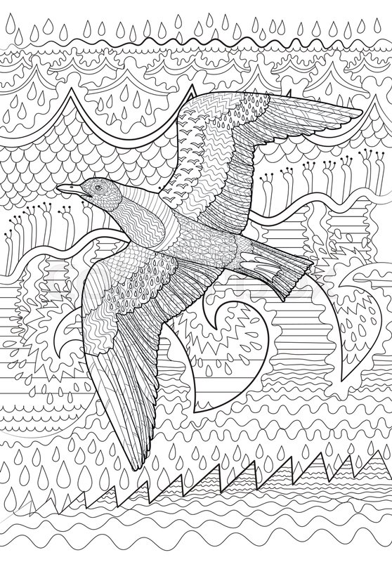 Flying Seagull With High Details Adult Antistress Coloring Page Black White Sea Bird Abstract Pattern Oceanic Elements For Relax Grown
