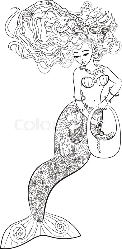 patterned illustration of a mermaid in