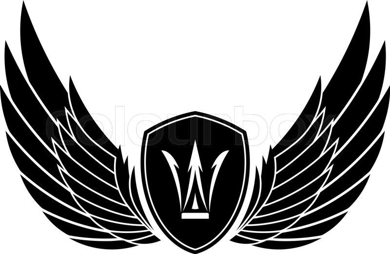 pair of stylish decorative vector wings with shields and crown rh colourbox com vector winds vector wings free