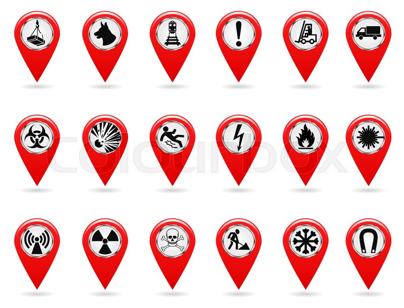 Map Pointers Set Of Safety Symbols Location And Specify The