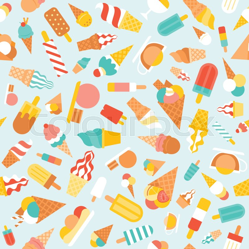 Fresh Ice Cream Stick In Summer Wallpaper Vector: Seamless Pattern Ice Cream, Soft Serve And Popsicle For