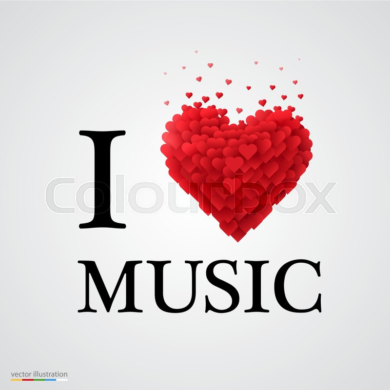 I Love Music Font Type With Heart Sign Stock Vector Colourbox