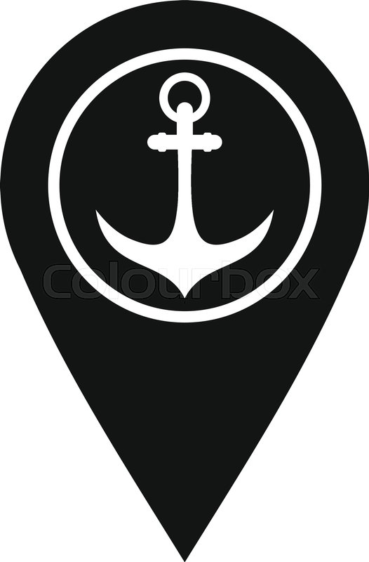 Map Pointer With Symbol Anchor And Sea Port Icon Simple