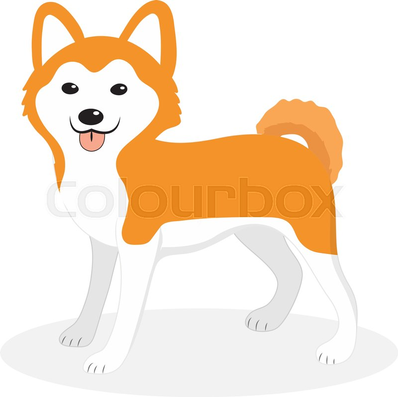 akita inu breed dog icon flat cartoon style cute puppy isolated rh colourbox com Beagle Silhouette Clip Art Dachshund Clip Art