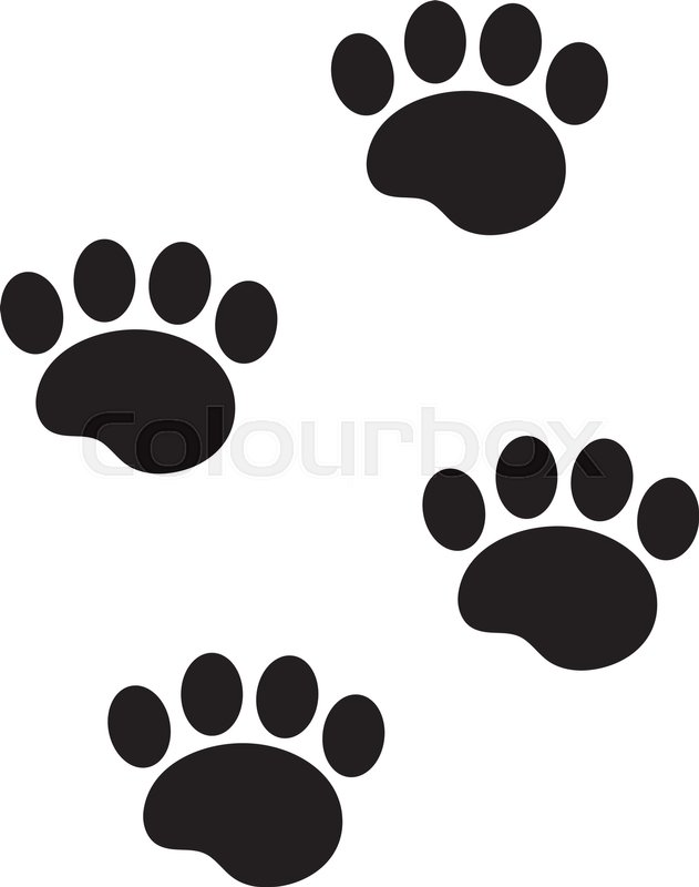 foot marks of an animal icon flat cartoon style traces of dog paw rh colourbox com cartoon pictures dog paw prints cartoon pictures dog paws