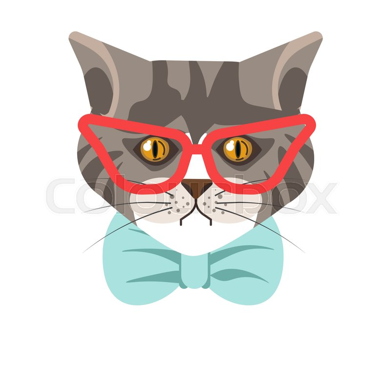 46553dcc82a1 Siberian breed cat wearing red modern ... | Stock vector | Colourbox