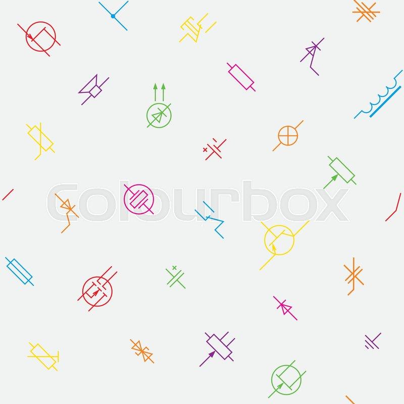 Electronics Circuit Components Symbols Seamless Wallpaper Pattern