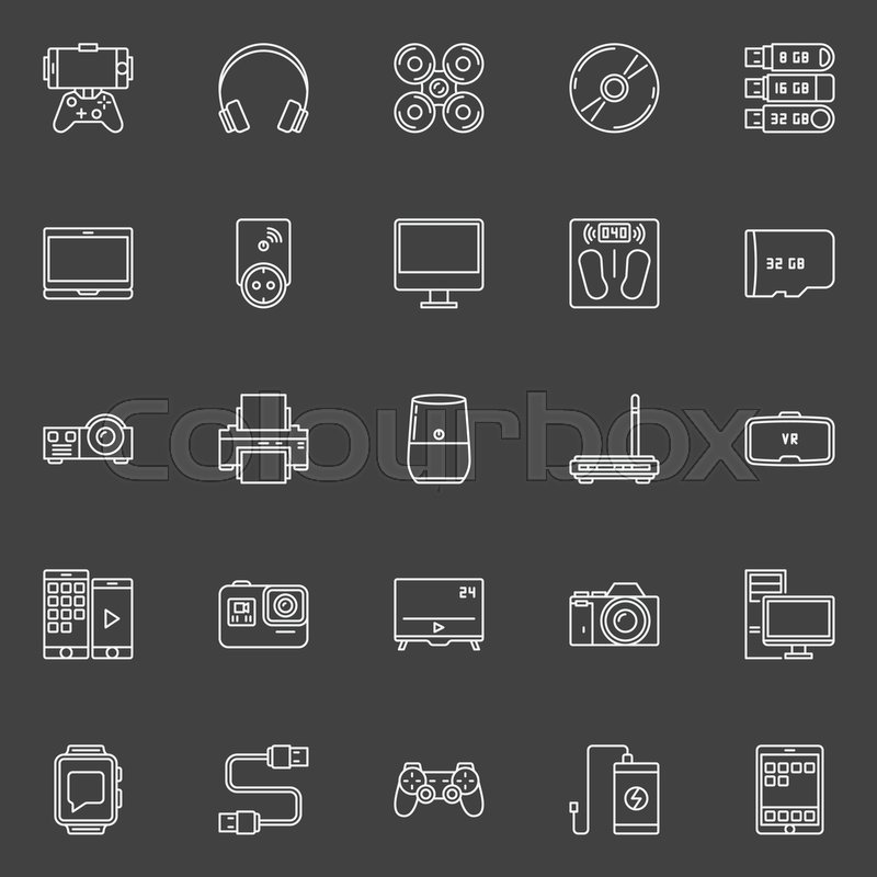 Electronic Gadgets Outline Icons Vector Set Of Different Modern