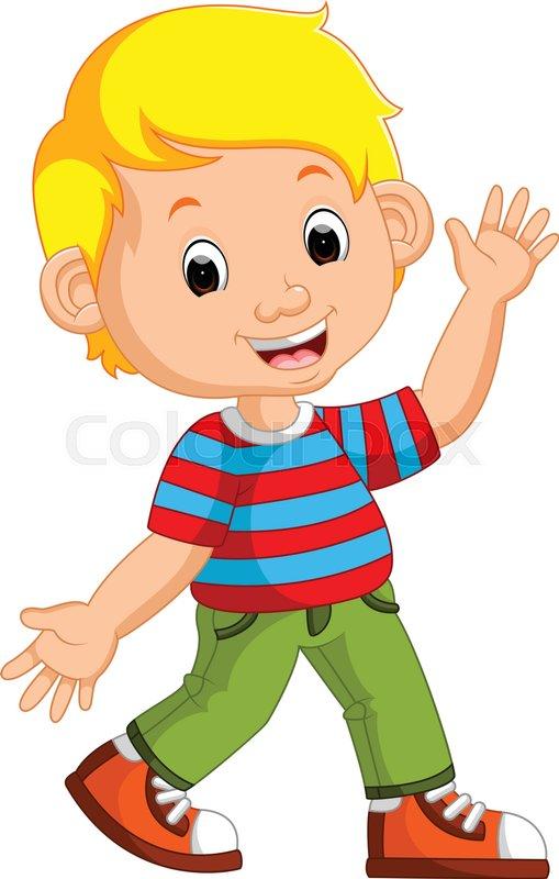 Illustration of Cute boy cartoon posing   Stock Vector