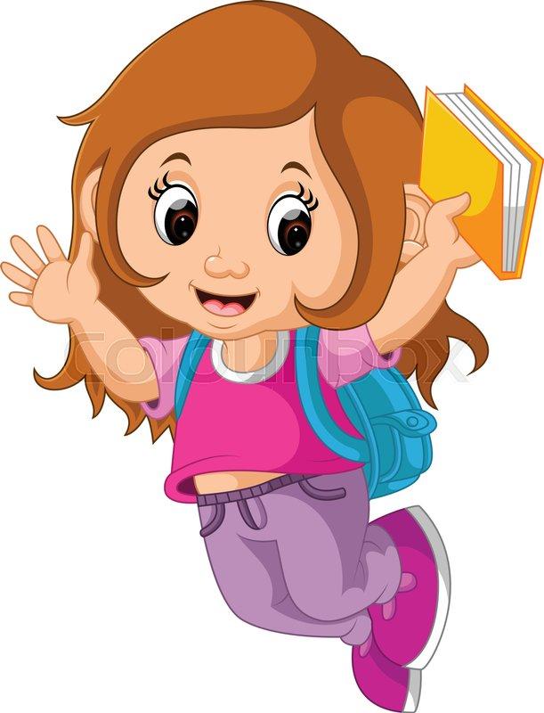 illustration of school girl cartoon walking stock vector colourbox rh colourbox com school girl clipart png school girl clipart images