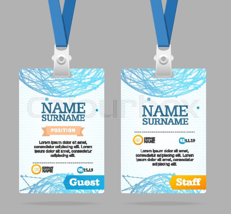 Id Card Template Plastic Badge with Abstract Mesh Sphere Structure ...