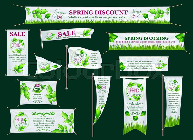 Spring sale season banner, poster stand, signboard and flag template ...