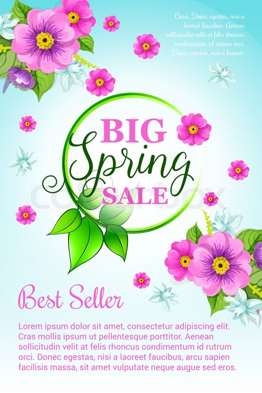 Big spring sale vector poster with floral design of blooming and big spring sale vector poster with floral design of blooming and blossoming pink flowers bouquet green spring nature template shopping discount and holiday mightylinksfo