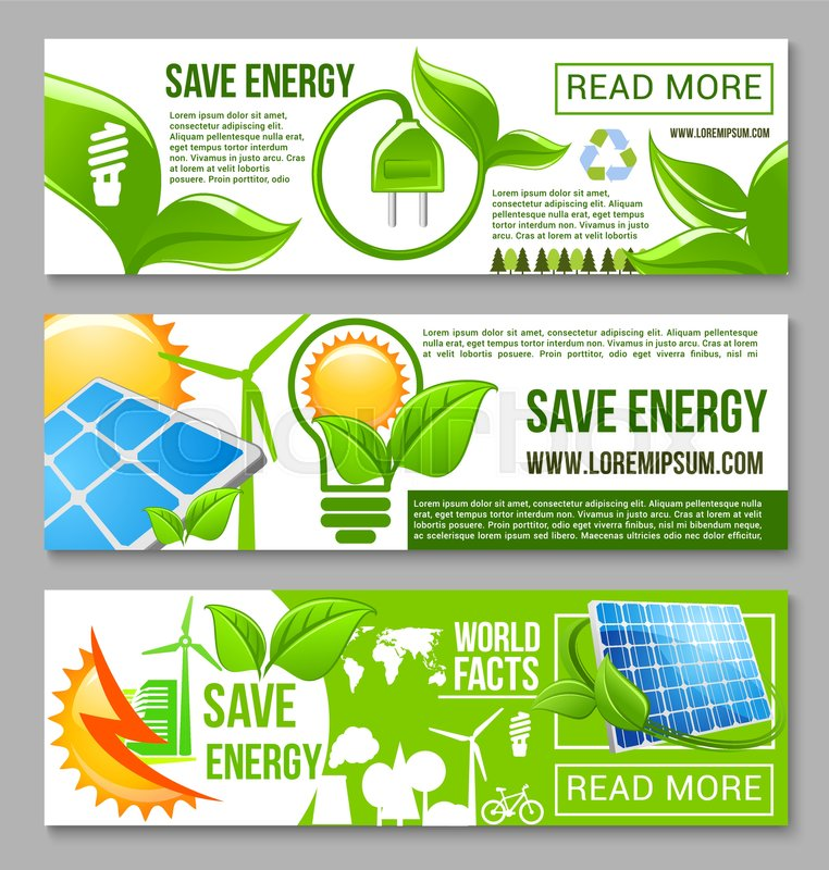 Eco Green Energy Saving Banner Energy Stock Vector