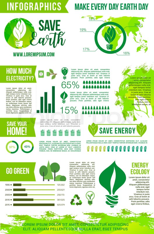 Earth day vector infographics elements on energy consumption and earth day vector infographics elements on energy consumption and environment protection recycling and ecology conservation concept with graphs ccuart Image collections
