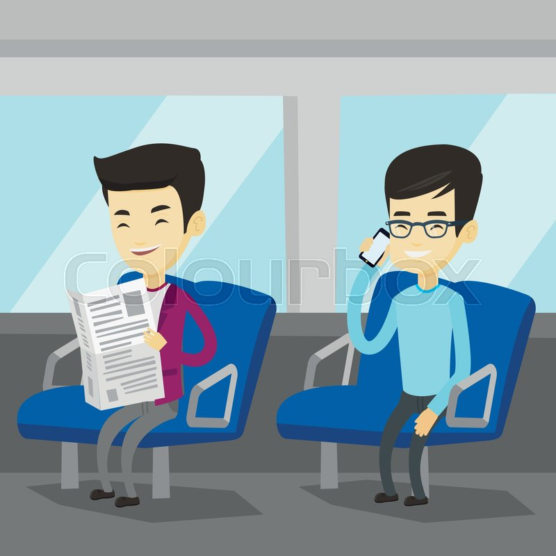 Man using mobile phone while traveling by public transport. Asian man reading newspaper in public transport. People traveling by public transport. Vector flat design illustration. Square layout, vector