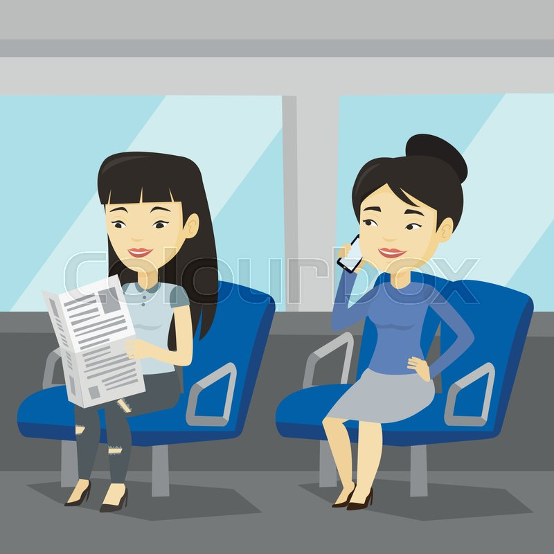 Woman using mobile phone while traveling by public transport. Asian woman reading newspaper in public transport. People traveling by public transport. Vector flat design illustration. Square layout, vector