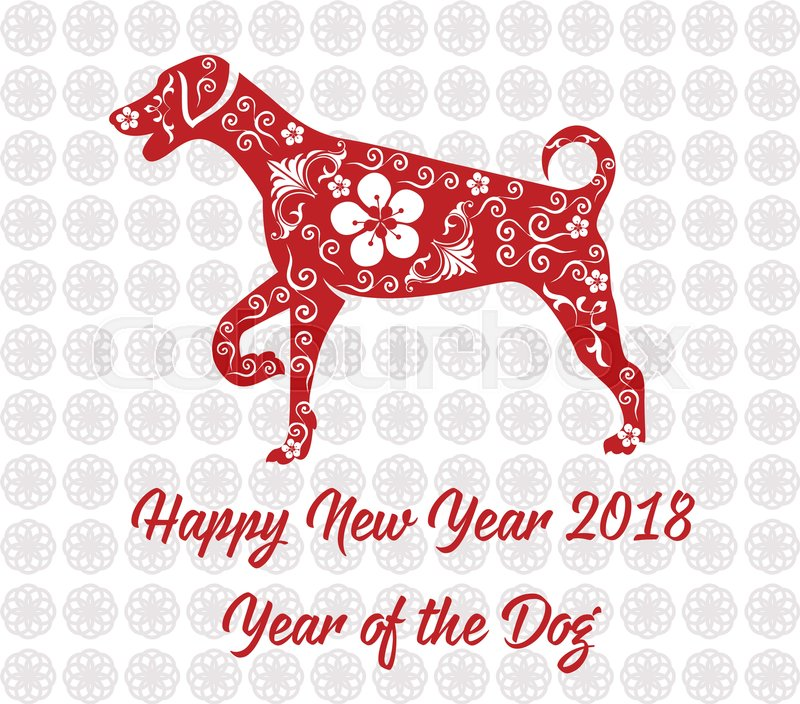 Happy Chinese new year 2018 card year     | Stock vector