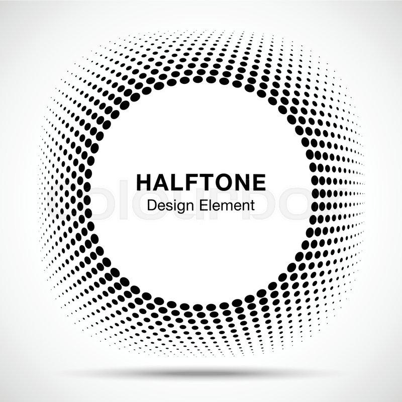 Convex distorted black abstract vector circle frame halftone dots ...