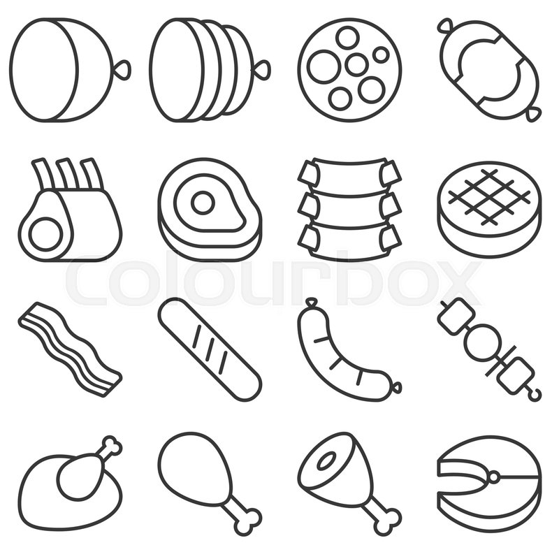 Butchery Products Line Icon Set