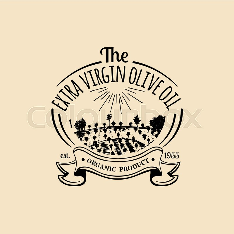 Vector Vintage Olive Oil Logo Retro Emblem With Rustic Grove And Field Hand Sketched Farm Production Sign Rural Landscape Badge