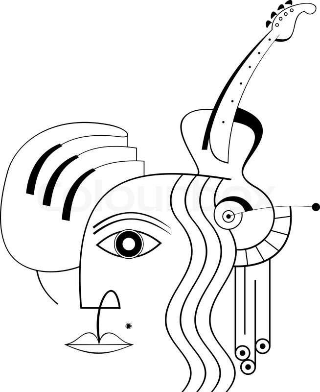 Abstract Face Line Drawing : The human face hand piano and guitar an abstract