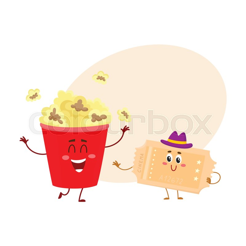 Cinema Popcorn And Vintage Movie Ticket Characters With Smiling