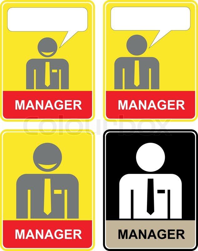 Manager - sjove og smilende kontorassistent i en dragt - sæt af stiliserede vektor ikoner ...