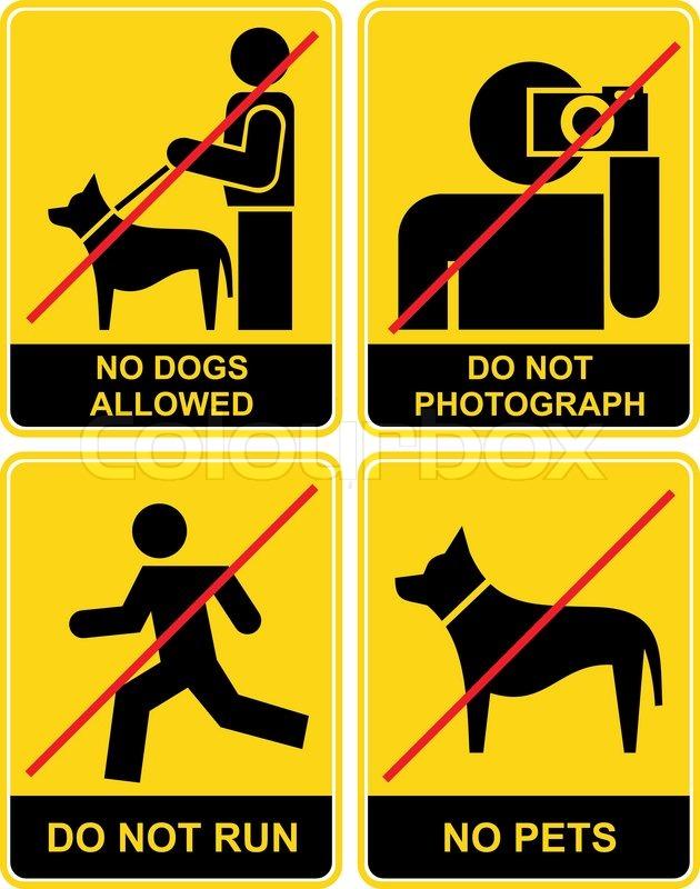 satz von gelben und schwarzen zeichen verboten verbotszeichen keine hunde fotografieren sie. Black Bedroom Furniture Sets. Home Design Ideas