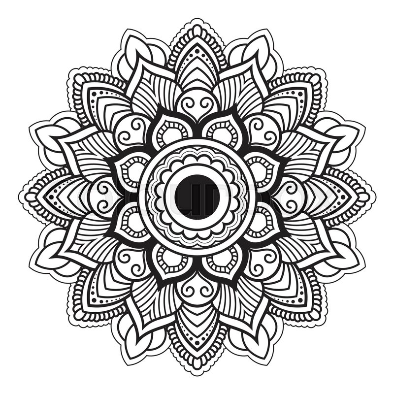 Mandala Line Art For Anti Stress Coloring Book Decorative Flower Round Ornament Yoga Print Designmeditation Posterstickersapparel