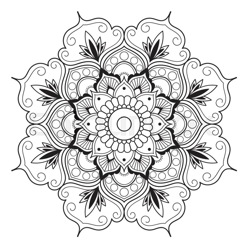 Passion Flower Line Drawing : Mandala line art for anti stress coloring book decorative