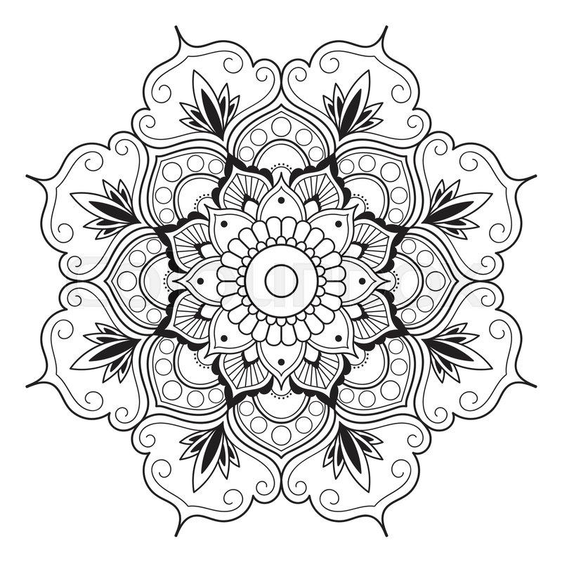 Line Drawing Mandala : Mandala line art for anti stress coloring book decorative