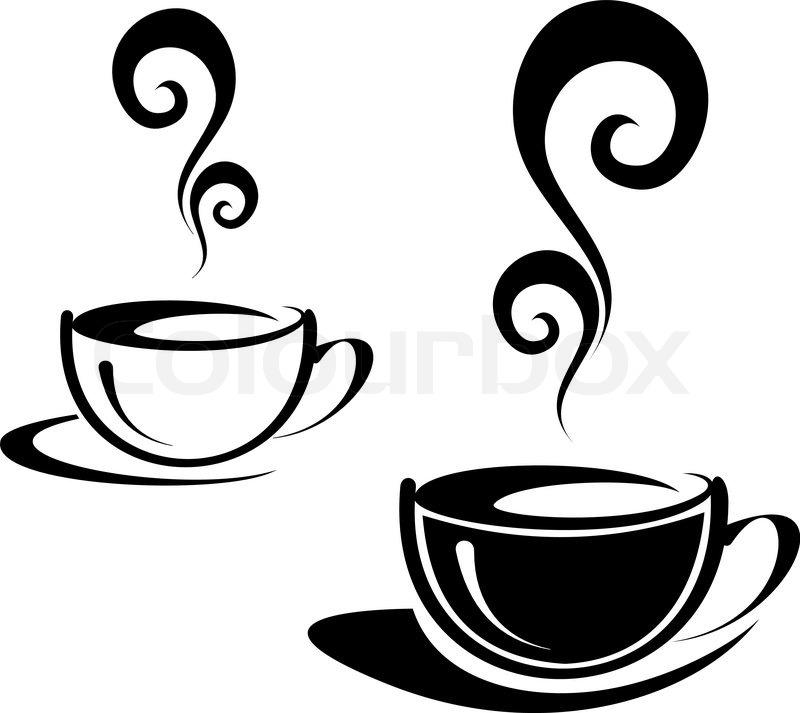 die zwei tassen kaffee mit spiral dampf schwarz wei bild. Black Bedroom Furniture Sets. Home Design Ideas