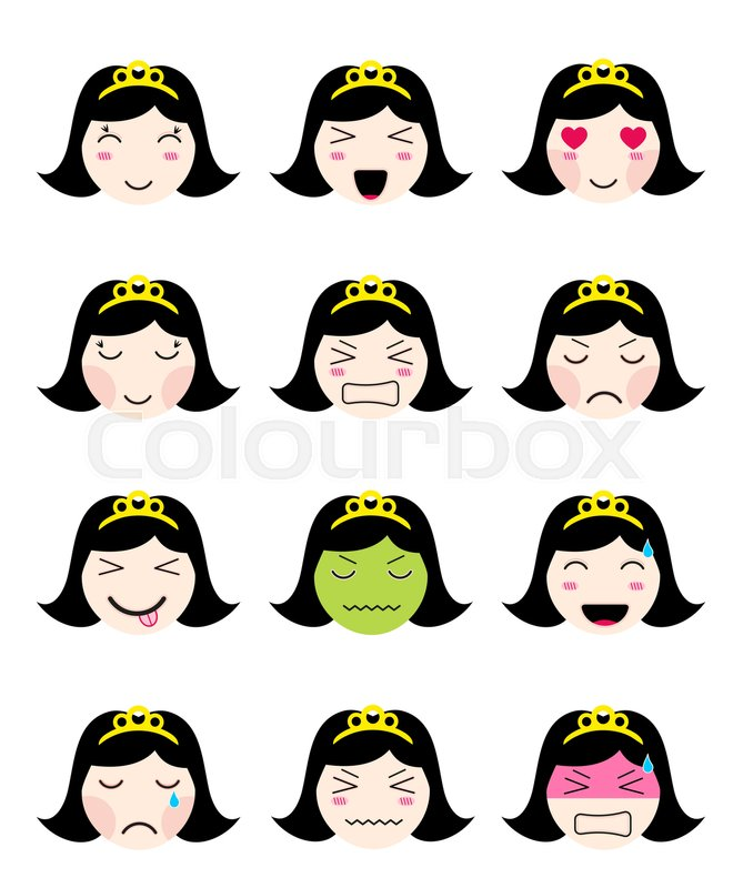 Kawaii Asian Girl Face Set Of Flat Emoticon In Anime Style Isolated Japanese Icons With Emotions Smile Cry Sad Angry Laughing Loved