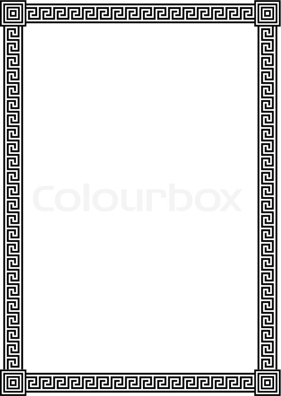Elegant frame with ancient Greek meander pattern - black ...