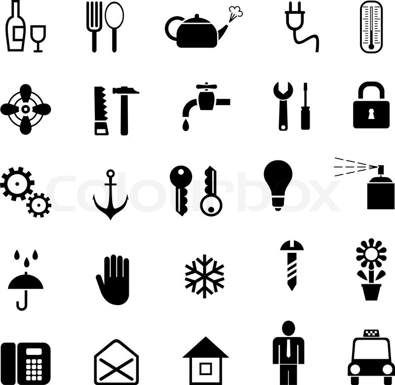set of vector household icons black and white pictograms