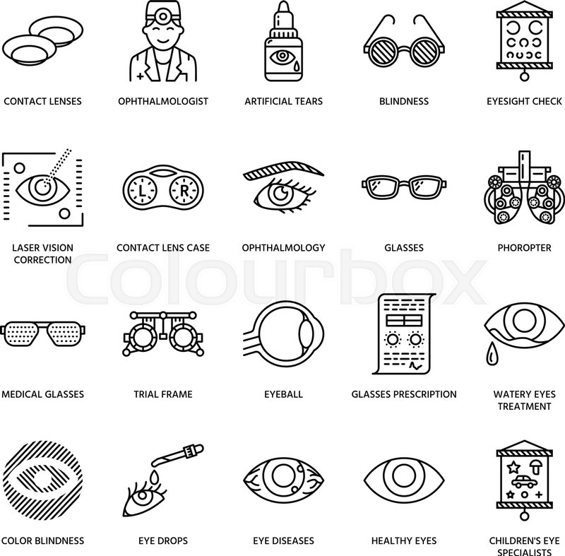 Ophthalmology, eyes health care line     | Stock vector