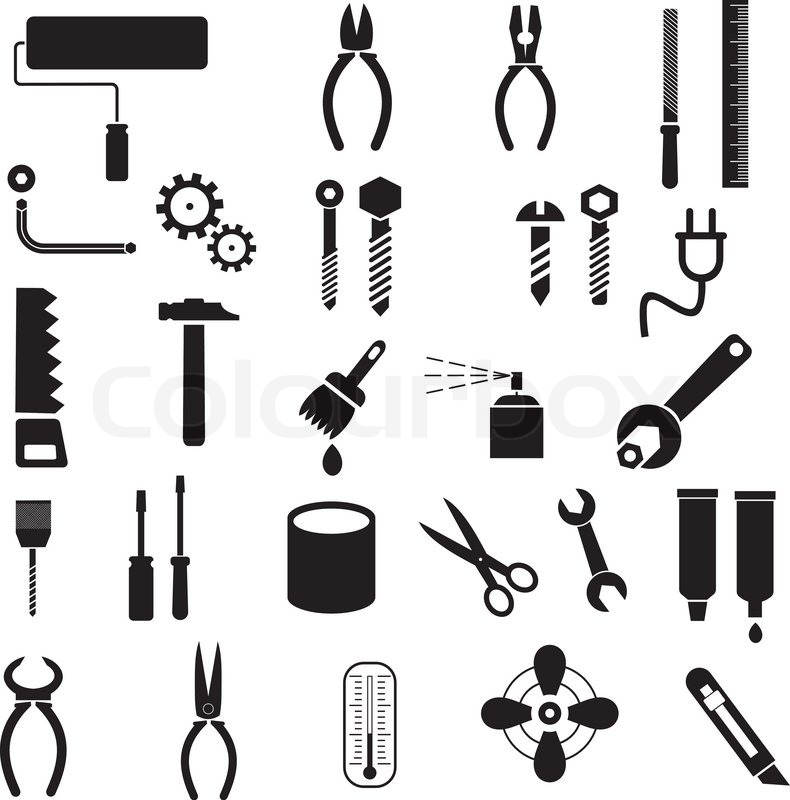 hand tools set of vector icons isolated symbols on white rh colourbox com Tool Tool Templates for Boards Tools Clip Art