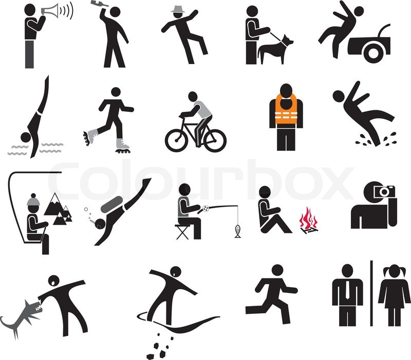 People In Action Set Of Isolated Vector Icons Black And