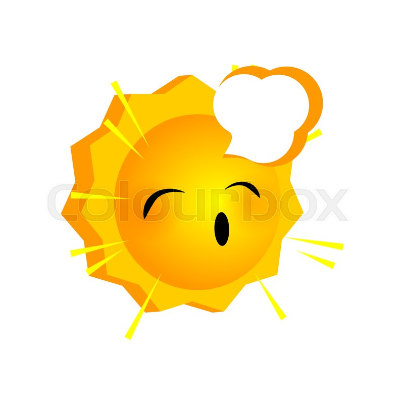 Vector illustration sleepy sunny smile     | Stock vector | Colourbox