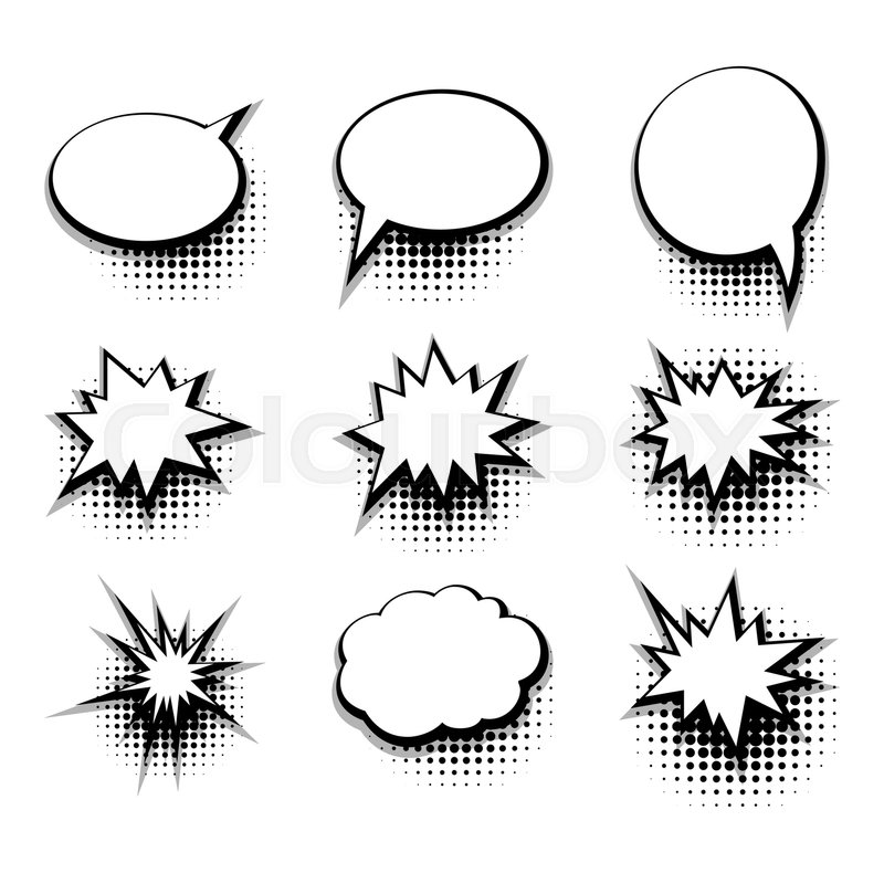 Collection Blank Template Comic Text Speech Bubble Halftone Dot Background Style Pop Art Creative Idea Conversation Book Sketch Explosion Vector