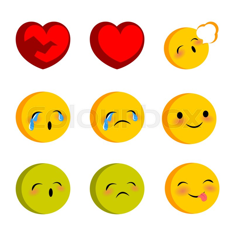 Emotional Faces Smiles Cry Sick Set Vector Illustration Smile Icon