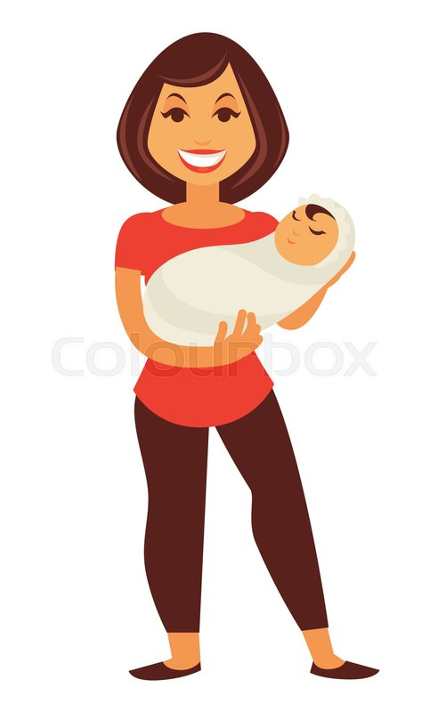 Young Mother Woman Holding Newborn Stock Vector Colourbox