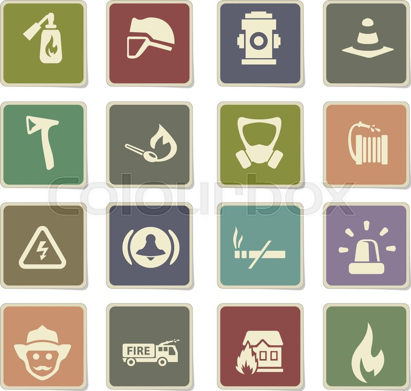 Fire Brigade Vector Icons For User Interface Design Stock Vector